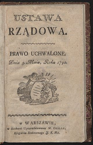 Constitution of the 3rd May 1791 print in Warszawa Michal Groll 1791 AD
